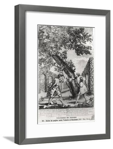 Argument Between Jean-Jacques Rousseau and Voltaire--Framed Art Print