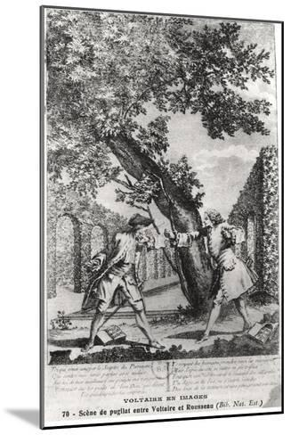 Argument Between Jean-Jacques Rousseau and Voltaire--Mounted Giclee Print