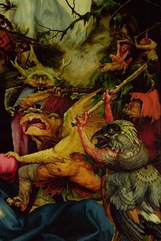 Demons Armed with Sticks from the Isenheim Altarpiece, C,1512-16-Matthias Gr?newald-Stretched Canvas Print