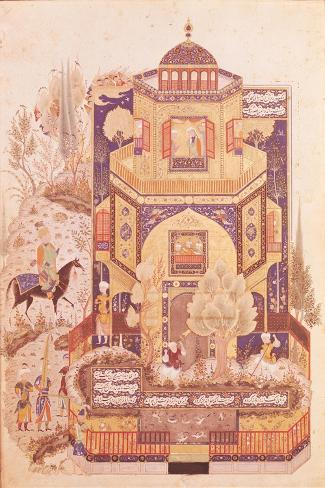 "Khusrau in Front of the Palace of Shirin, from ""Khusrau and Shirin"" by Elyas Nezami 1504--Stretched Canvas Print"