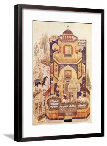 "Khusrau in Front of the Palace of Shirin, from ""Khusrau and Shirin"" by Elyas Nezami 1504--Framed Art Print"