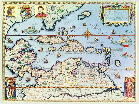 Map of the Caribbean Islands and the American State of Florida-Theodor de Bry-Stretched Canvas Print