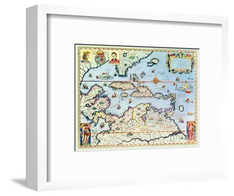Map of the Caribbean Islands and the American State of Florida-Theodor de Bry-Framed Art Print