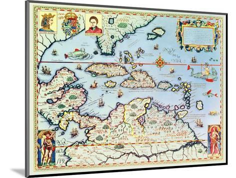 Map of the Caribbean Islands and the American State of Florida-Theodor de Bry-Mounted Premium Giclee Print