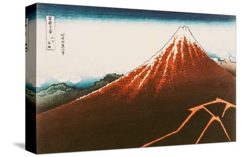 "Fuji Above the Lightning"", from the Series ""36 Views of Mt. Fuji""-Katsushika Hokusai-Stretched Canvas Print"