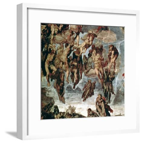 "The Righteous Drawn up to Heaven, Detail from ""The Last Judgement""-Michelangelo Buonarroti-Framed Art Print"