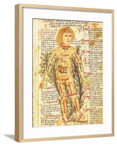 "Influence of the Stars on Illnesses of the Human Body, from ""Tractatus de Pestilencia""-M. Albik-Framed Art Print"