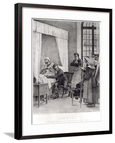 Rene Theophile Hyacinthe Laennec Listening to the Chest of a Man with Consumption, 1816-Theobald Chartran-Framed Art Print