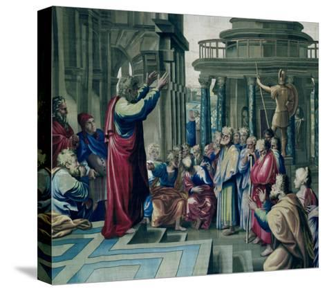 St. Paul Preaching at the Areopagus, from a Series Depicting the Acts of the Apostles-Raphael-Stretched Canvas Print