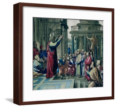 St. Paul Preaching at the Areopagus, from a Series Depicting the Acts of the Apostles-Raphael-Framed Art Print