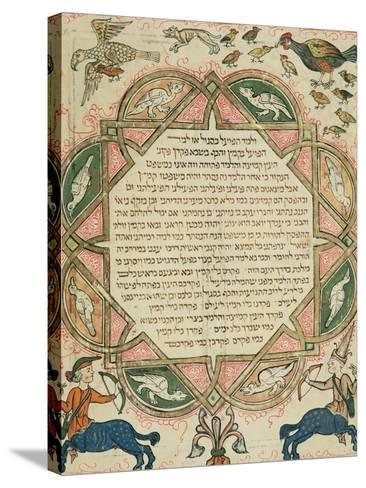 Page from a Hebrew Bible Depicting Domestic Animals and Centaurs, 1299-Joseph Asarfati-Stretched Canvas Print