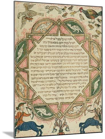 Page from a Hebrew Bible Depicting Domestic Animals and Centaurs, 1299-Joseph Asarfati-Mounted Giclee Print