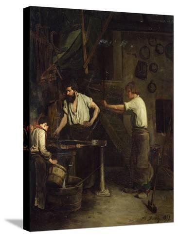 The Blacksmiths, Memory of Treport, 1857-Francois Bonvin-Stretched Canvas Print