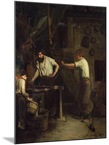 The Blacksmiths, Memory of Treport, 1857-Francois Bonvin-Mounted Giclee Print