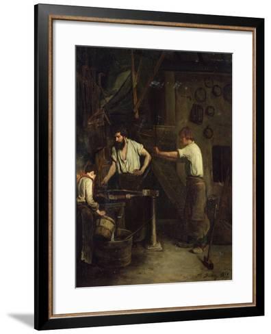 The Blacksmiths, Memory of Treport, 1857-Francois Bonvin-Framed Art Print