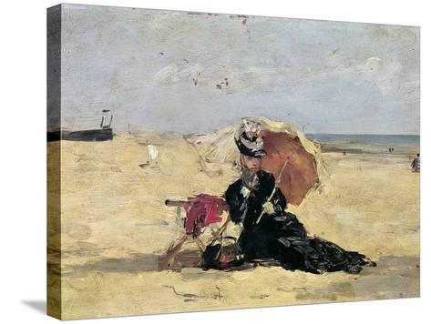 Woman with a Parasol on the Beach, 1880-Eug?ne Boudin-Stretched Canvas Print