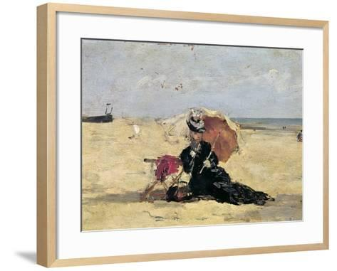 Woman with a Parasol on the Beach, 1880-Eug?ne Boudin-Framed Art Print
