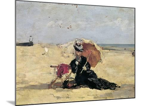 Woman with a Parasol on the Beach, 1880-Eug?ne Boudin-Mounted Giclee Print