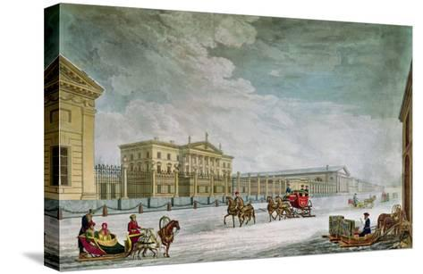View of the Imperial Bank and the Shops at St. Petersburg- Mornay-Stretched Canvas Print