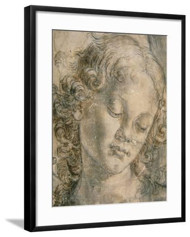 Head of Angel-Andrea del Verrocchio-Framed Art Print