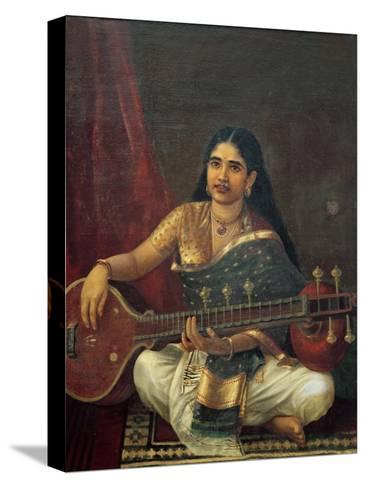 Young Woman with a Veena-Raja Ravi Varma-Stretched Canvas Print