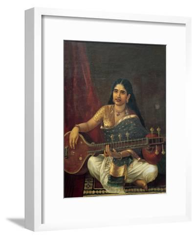 Young Woman with a Veena-Raja Ravi Varma-Framed Art Print