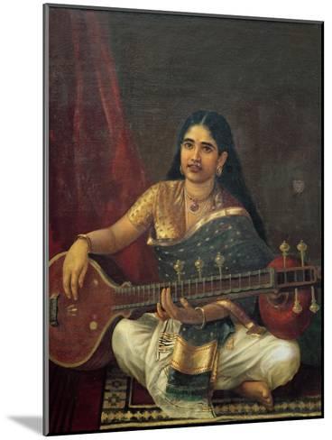 Young Woman with a Veena-Raja Ravi Varma-Mounted Giclee Print