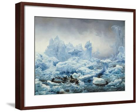 Fishing for Walrus in the Arctic Ocean, 1841-Francois Auguste Biard-Framed Art Print
