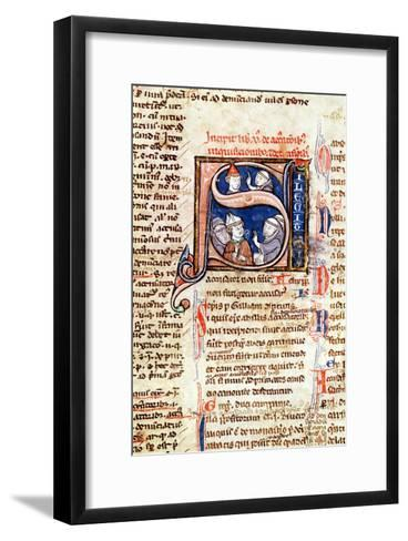"""Historiated Initial """"S"""" Depicting Pope Gregory IX with Bishops and Abbots--Framed Art Print"""