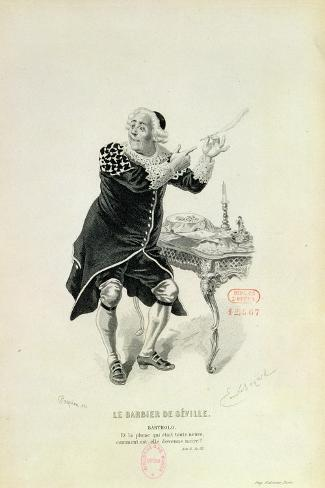 """Dr Bartolo, from the Opera """"The Barber of Seville"""" by Rossini-Emile Antoine Bayard-Stretched Canvas Print"""