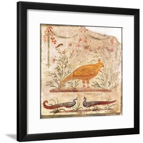"Sign for the Thermopolium Depicting a Phoenix and the Inscription ""Phoenix Felix et Tu""--Framed Art Print"