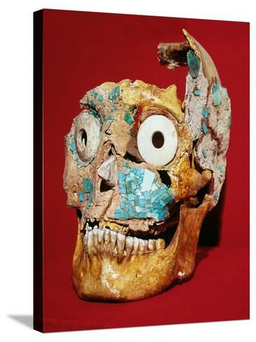Skull Decorated with a Mosaic in Turquoise and Ivory, Mixtec, from Tomb 7, Monte Alban, 1300-1450--Stretched Canvas Print