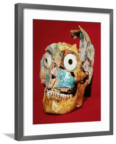 Skull Decorated with a Mosaic in Turquoise and Ivory, Mixtec, from Tomb 7, Monte Alban, 1300-1450--Framed Art Print