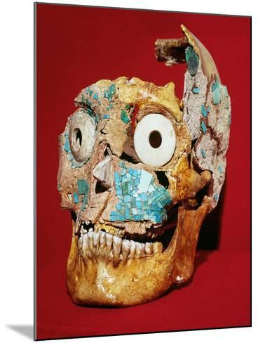 Skull Decorated with a Mosaic in Turquoise and Ivory, Mixtec, from Tomb 7, Monte Alban, 1300-1450--Mounted Giclee Print