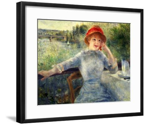 Alphonsine Fournaise at the Grenouillere, 1879-Pierre-Auguste Renoir-Framed Art Print