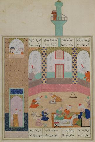 Interior of a Madrasa, from a Poem by Elyas Nizami circa 1550--Stretched Canvas Print