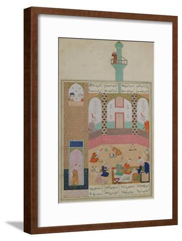 Interior of a Madrasa, from a Poem by Elyas Nizami circa 1550--Framed Art Print