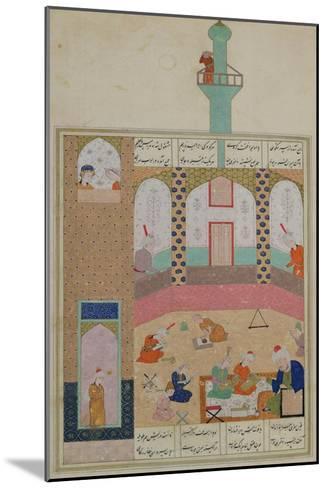 Interior of a Madrasa, from a Poem by Elyas Nizami circa 1550--Mounted Giclee Print