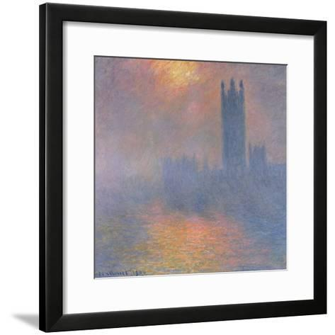 The Houses of Parliament, London, with the Sun Breaking Through the Fog, 1904-Claude Monet-Framed Art Print