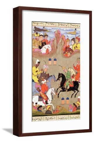 The Game of Polo, Miniature from a Shahnama, circa 1670--Framed Art Print