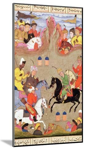 The Game of Polo, Miniature from a Shahnama, circa 1670--Mounted Giclee Print