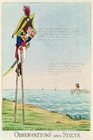 Caricature of Napoleon Standing on Stilts Observing Pitt and England Across the Channel--Stretched Canvas Print