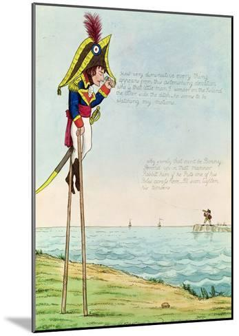 Caricature of Napoleon Standing on Stilts Observing Pitt and England Across the Channel--Mounted Giclee Print