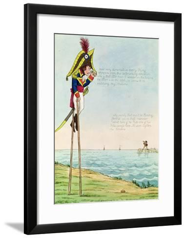 Caricature of Napoleon Standing on Stilts Observing Pitt and England Across the Channel--Framed Art Print