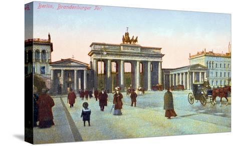 Postcard Depicting the Brandenburg Gate in Berlin, Pre 1914--Stretched Canvas Print