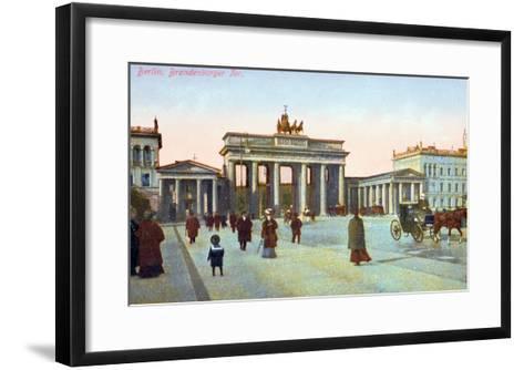 Postcard Depicting the Brandenburg Gate in Berlin, Pre 1914--Framed Art Print