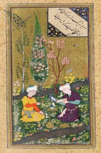 Two Figures Reading and Relaxing in an Orchard, circa 1540-50--Stretched Canvas Print