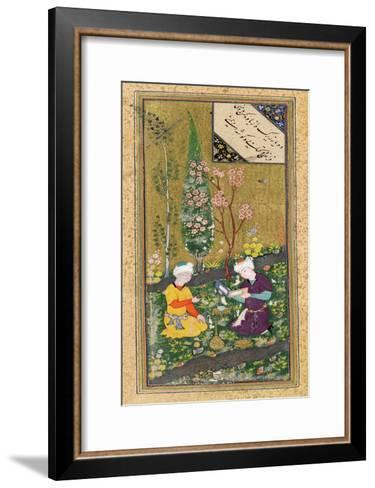 Two Figures Reading and Relaxing in an Orchard, circa 1540-50--Framed Art Print