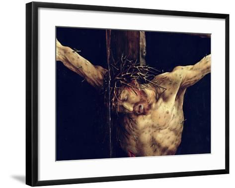 The Face of Christ, Detail from the Crucifixion from the Isenheim Altarpiece, circa 1512-16-Matthias Gr?newald-Framed Art Print
