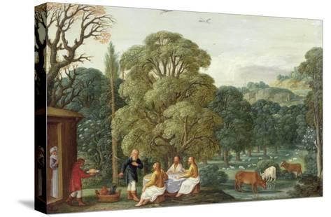 Abraham Entertaining the Three Angels-Johann Or Hans Konig-Stretched Canvas Print